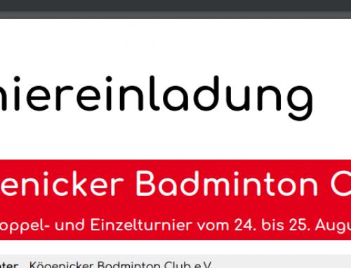 Köpenicker Badminton Cup 2019 – Ausschreibung
