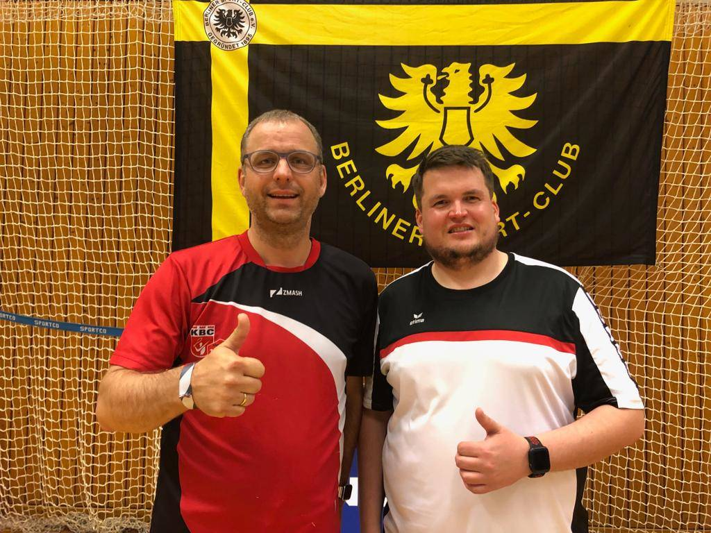 Badminton Doppel Robert und Plü